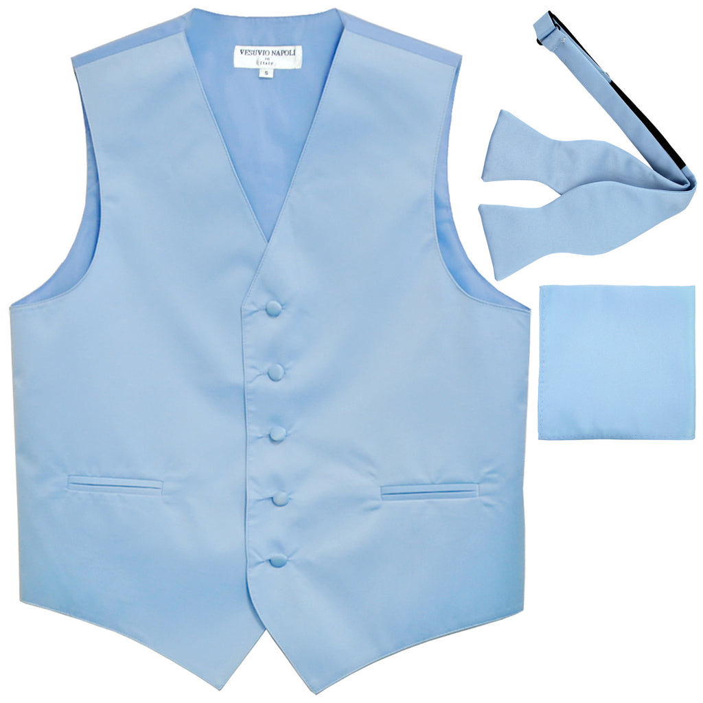 New Men's vest Tuxedo Waistcoat self tie bow tie and hankie set light blue
