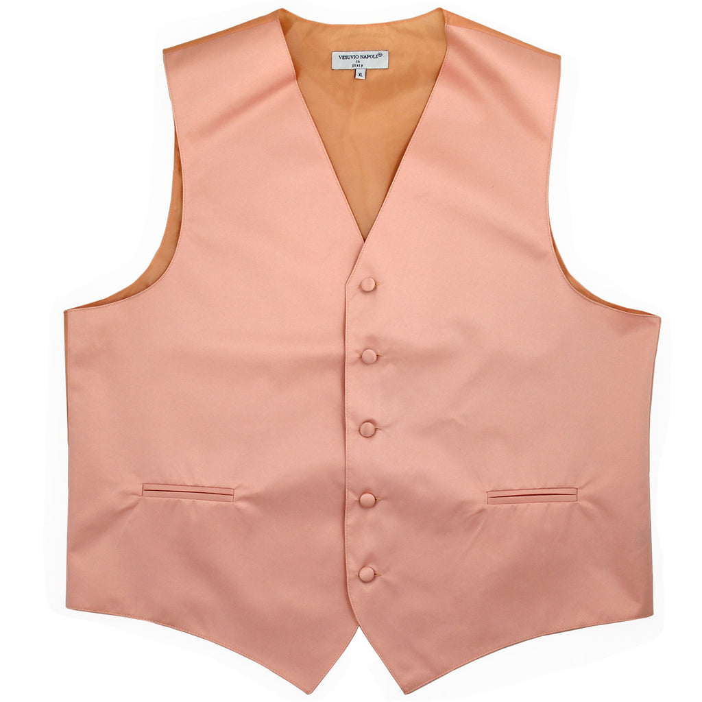 New polyester men's tuxedo vest waistcoat only solid wedding formal peach