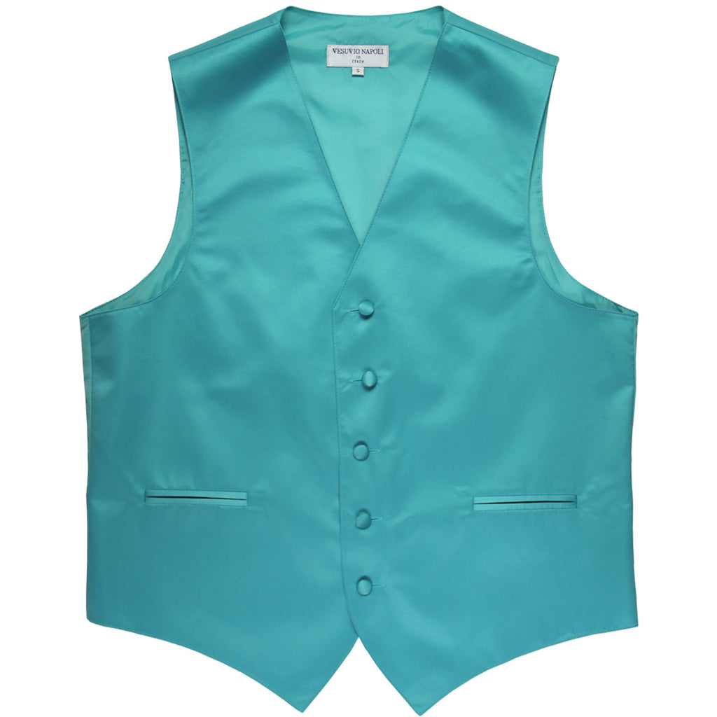 New polyester men's tuxedo vest waistcoat only solid wedding formal aqua blue