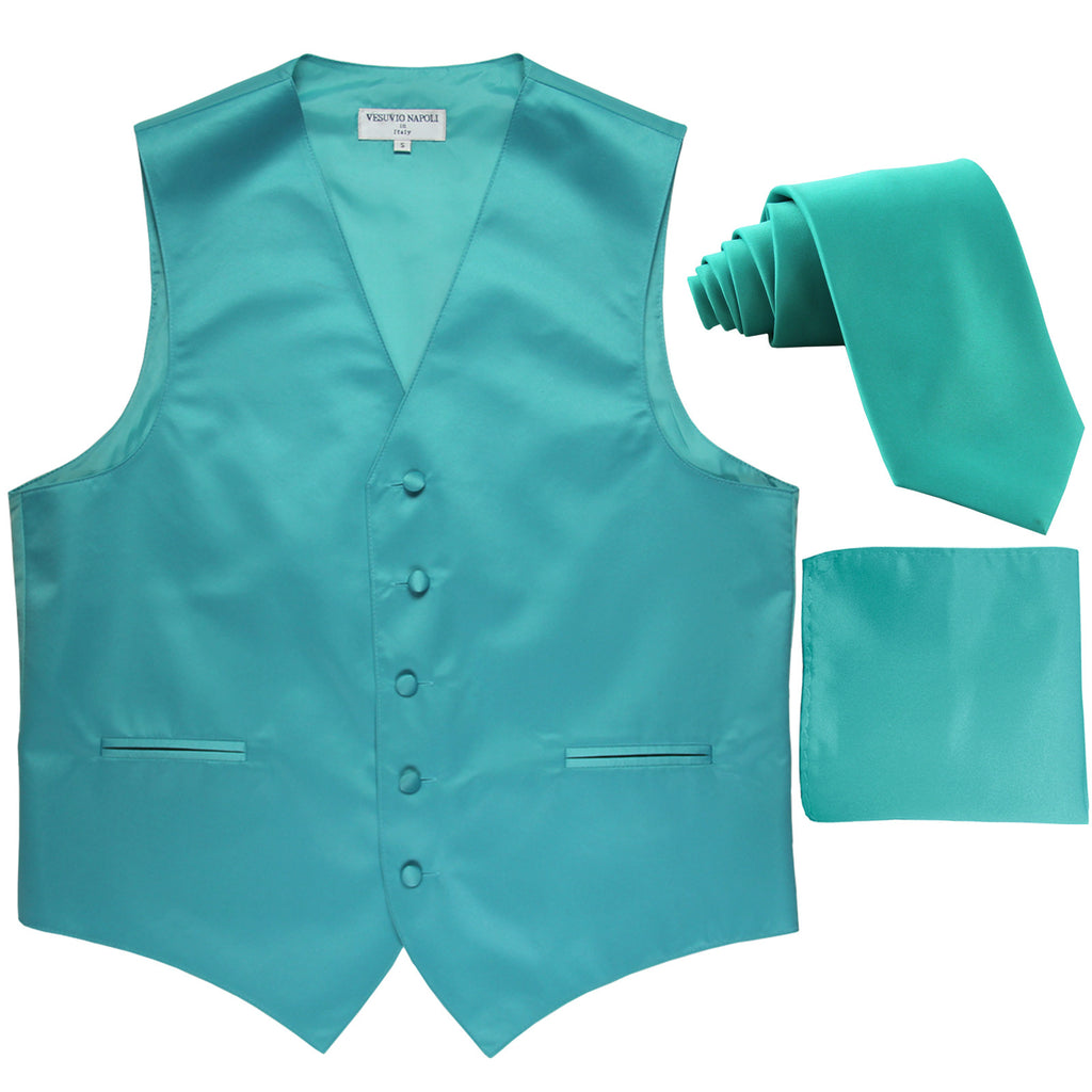 New Men's formal vest Tuxedo Waistcoat_necktie & hankie set wedding aqua blue