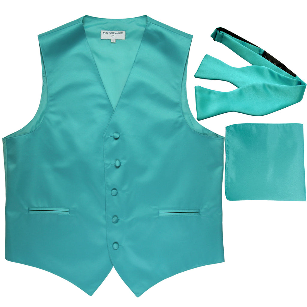 New Men's vest Tuxedo Waistcoat self tie bow tie and hankie set aqua blue
