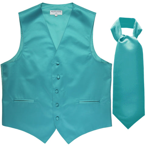 New Men's Formal Tuxedo Vest Waistcoat solid & Ascot cravat Prom aqua blue