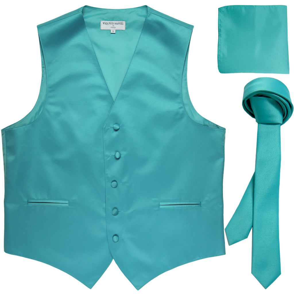 "New Men's formal vest Tuxedo Waistcoat_1.5"" necktie & hankie set wedding aqua blue"