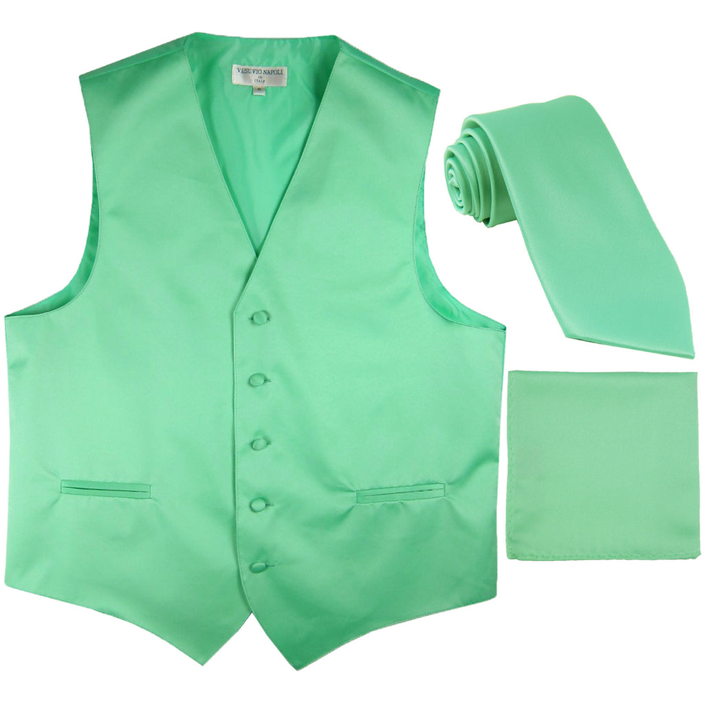 New Men's formal vest Tuxedo Waistcoat_necktie & hankie set wedding aqua green