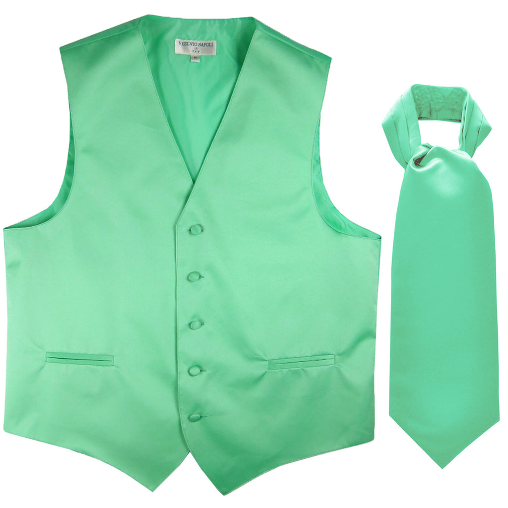 New Men's Formal Tuxedo Vest Waistcoat solid & Ascot cravat Prom aqua green