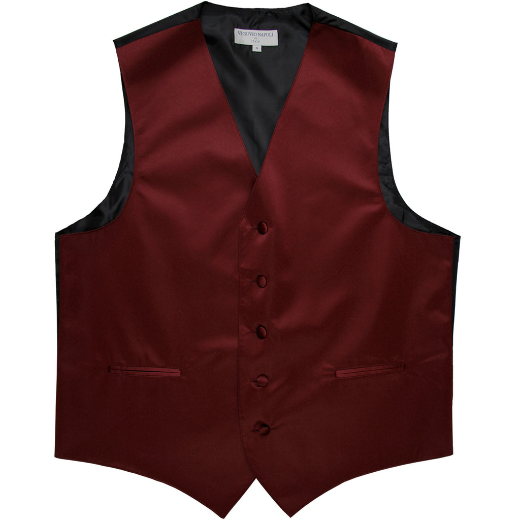 New polyester men's tuxedo vest waistcoat only solid wedding formal burgundy