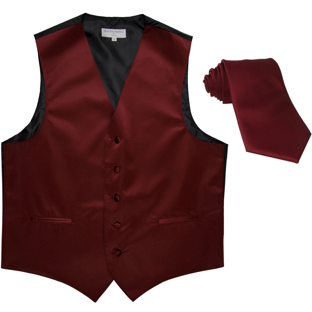 New Men's Formal Tuxedo Vest Waistcoat_Necktie solid wedding prom burgundy