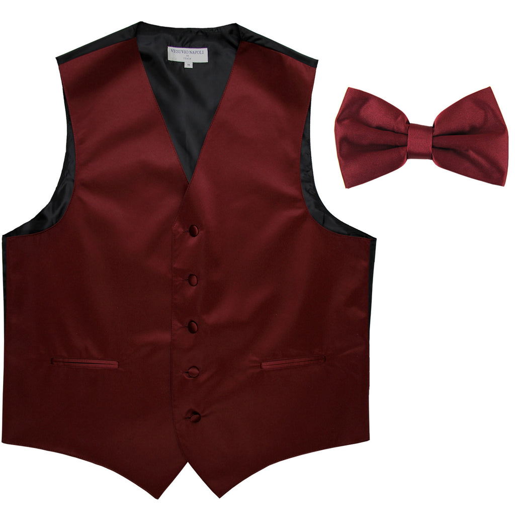 New Men's Formal Vest Tuxedo Waistcoat with Bowtie wedding prom party burgundy