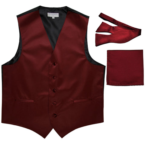 New Men's vest Tuxedo Waistcoat self tie bow tie and hankie set burgundy