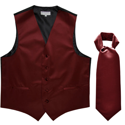 New Men's Formal Tuxedo Vest Waistcoat solid & Ascot cravat Prom burgundy