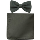 New formal men's pre tied Bow tie & Pocket Square Hankie solid prom