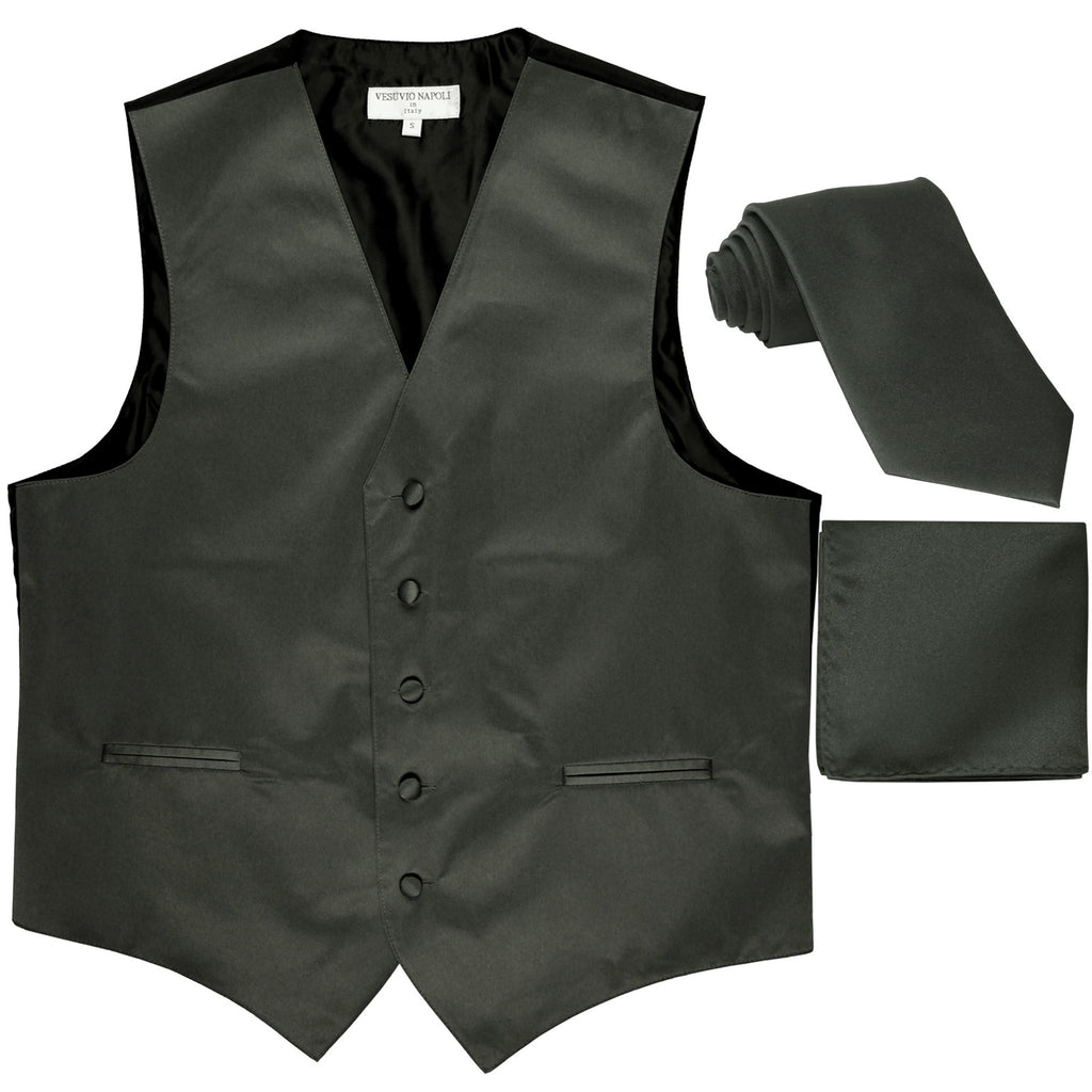 New Men's formal vest Tuxedo Waistcoat_necktie & hankie set wedding dark gray