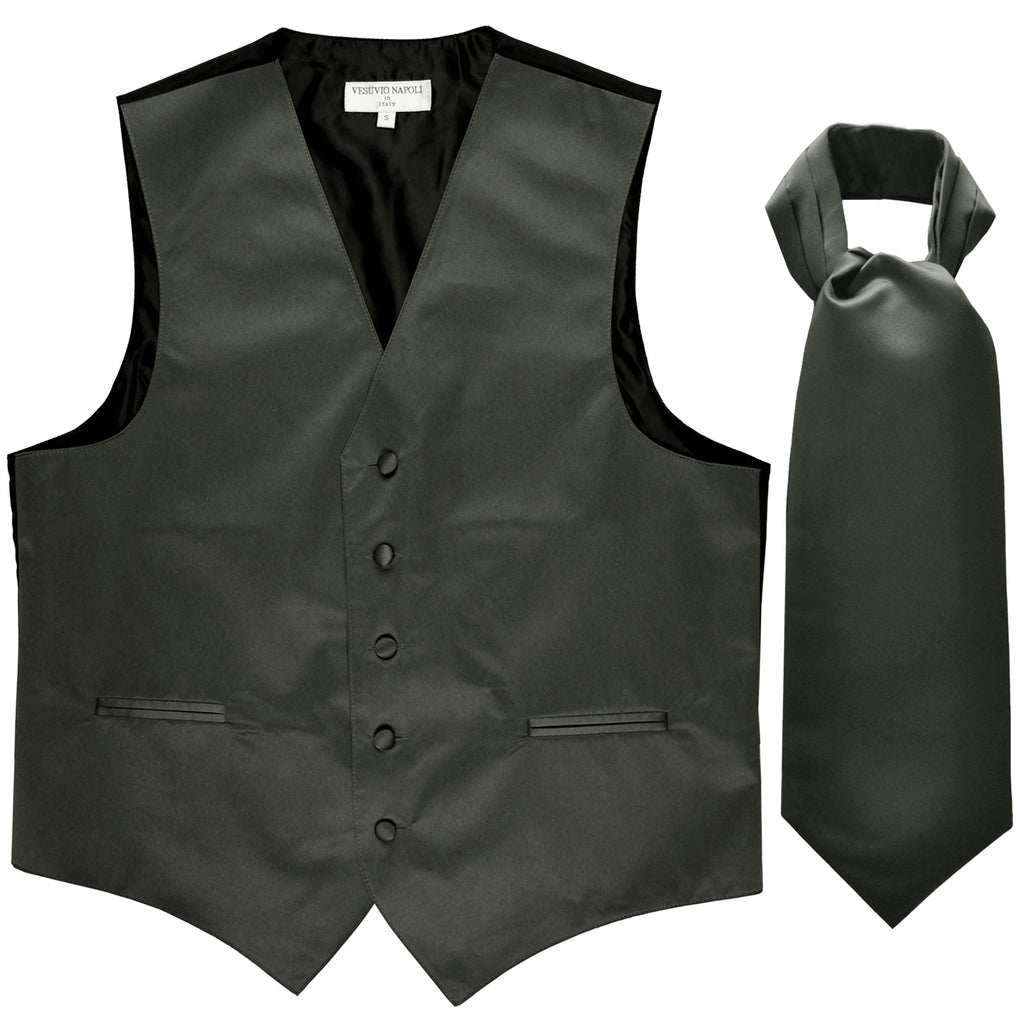 New Men's Formal Tuxedo Vest Waistcoat solid & Ascot cravat Prom dark gray