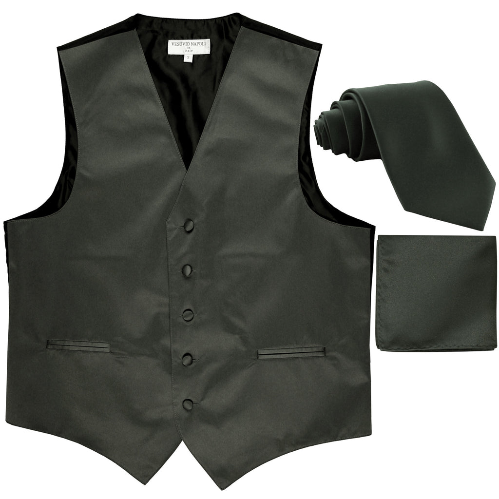 "New Men's formal vest Tuxedo Waistcoat_2.5"" necktie & hankie wedding dark gray"