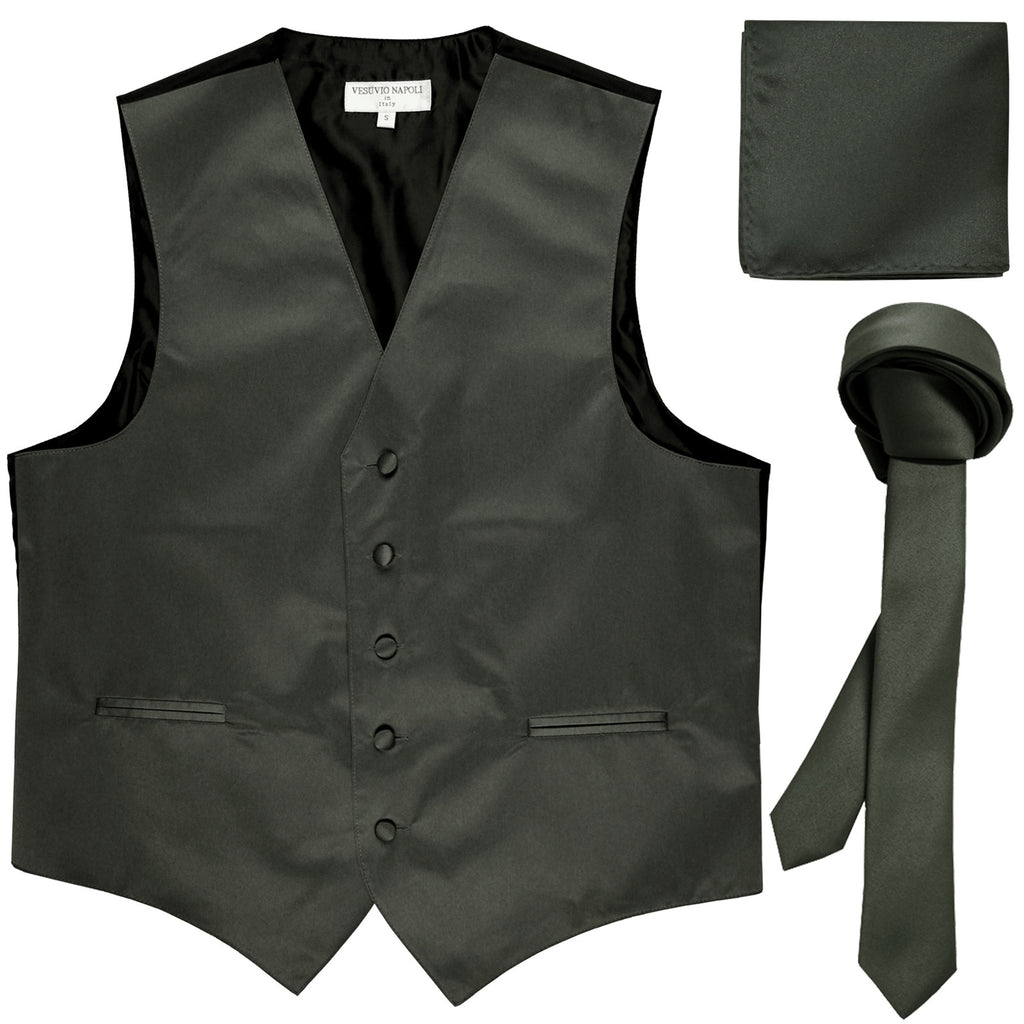 "New Men's formal vest Tuxedo Waistcoat_1.5"" necktie & hankie set wedding dark gray"