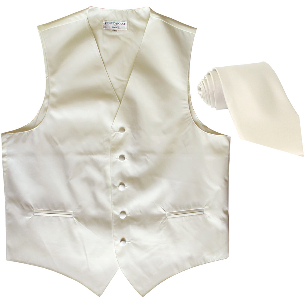 New Men's Formal Tuxedo Vest Waistcoat_Necktie solid wedding prom cream