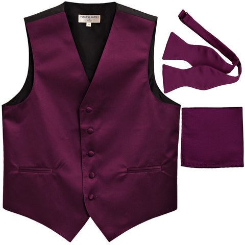 New Men's vest Tuxedo Waistcoat self tie bow tie and hankie set eggplant