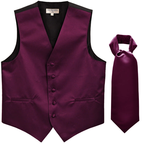 New Men's Formal Tuxedo Vest Waistcoat solid & Ascot cravat Prom eggplant