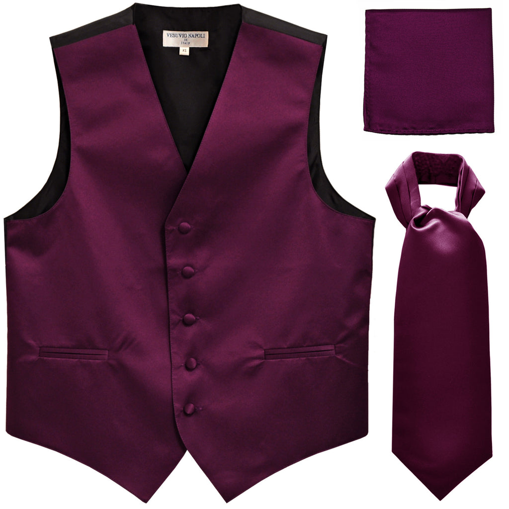 New Men's formal vest Tuxedo Waistcoat ascot hankie set wedding prom eggplant