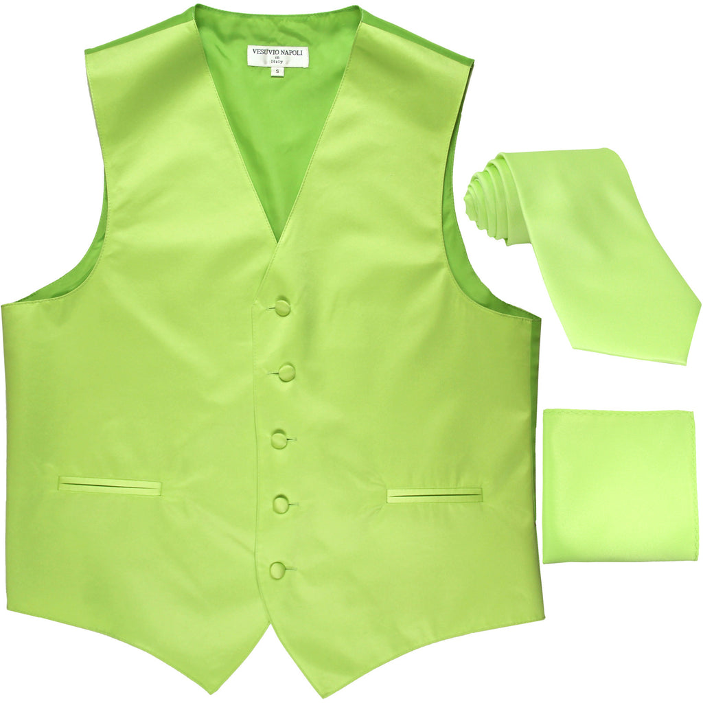 New Men's formal vest Tuxedo Waistcoat_necktie & hankie set wedding lime green