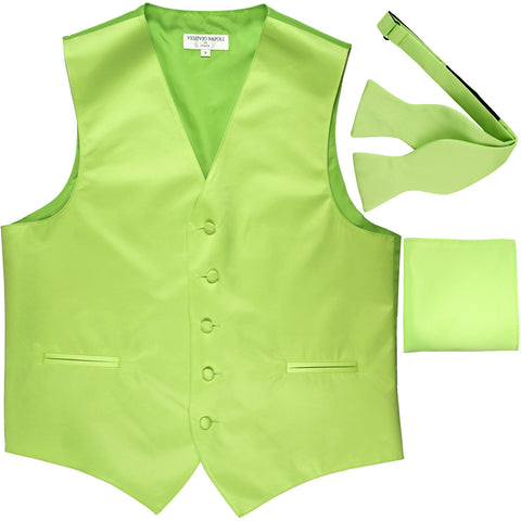 New Men's vest Tuxedo Waistcoat self tie bow tie and hankie set lime green