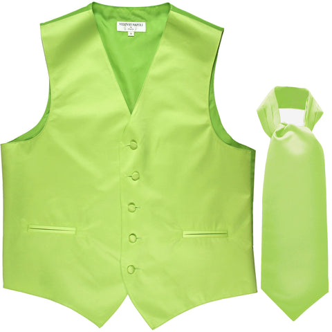 New Men's Formal Tuxedo Vest Waistcoat solid & Ascot cravat Prom lime green