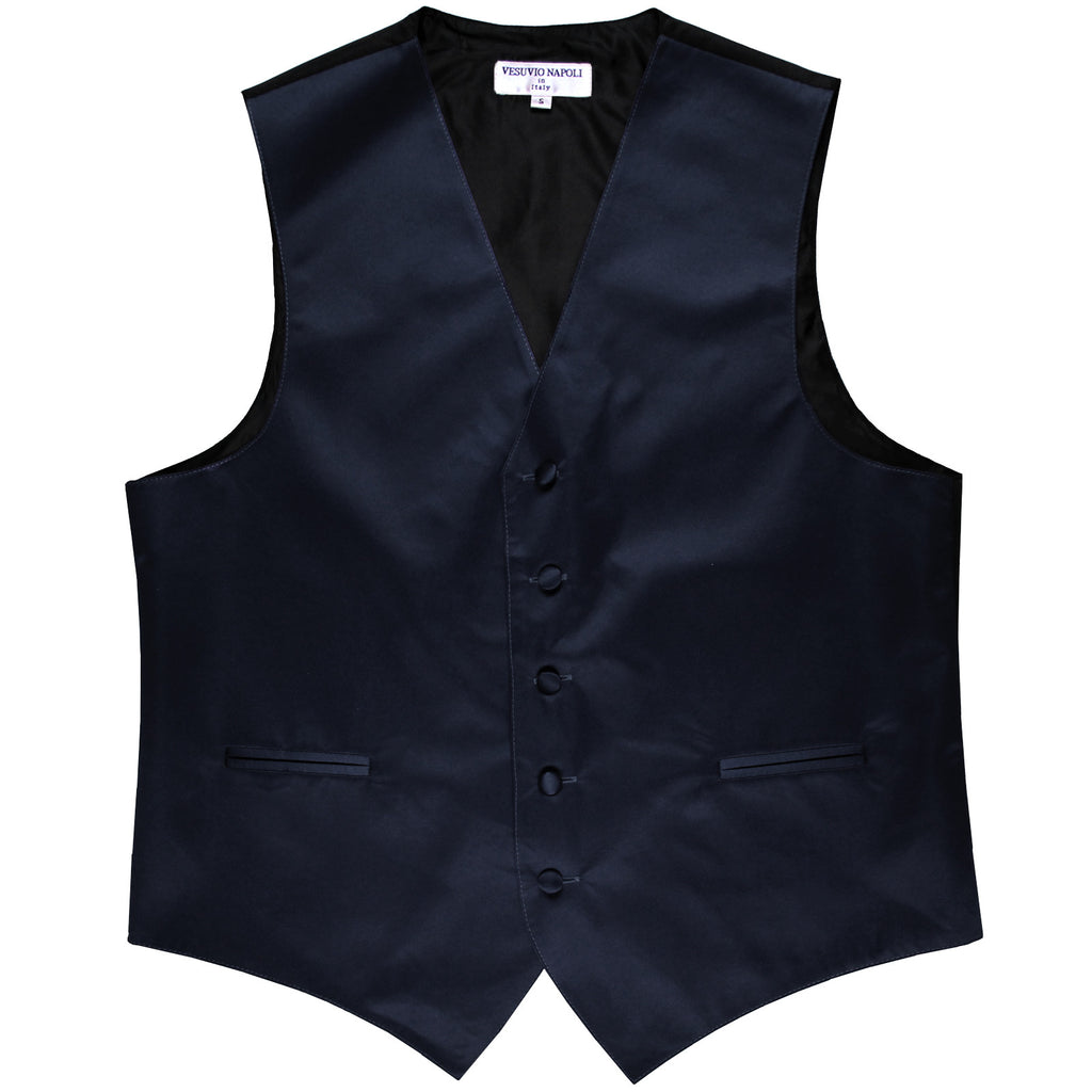 New polyester men's tuxedo vest waistcoat only solid wedding formal navy