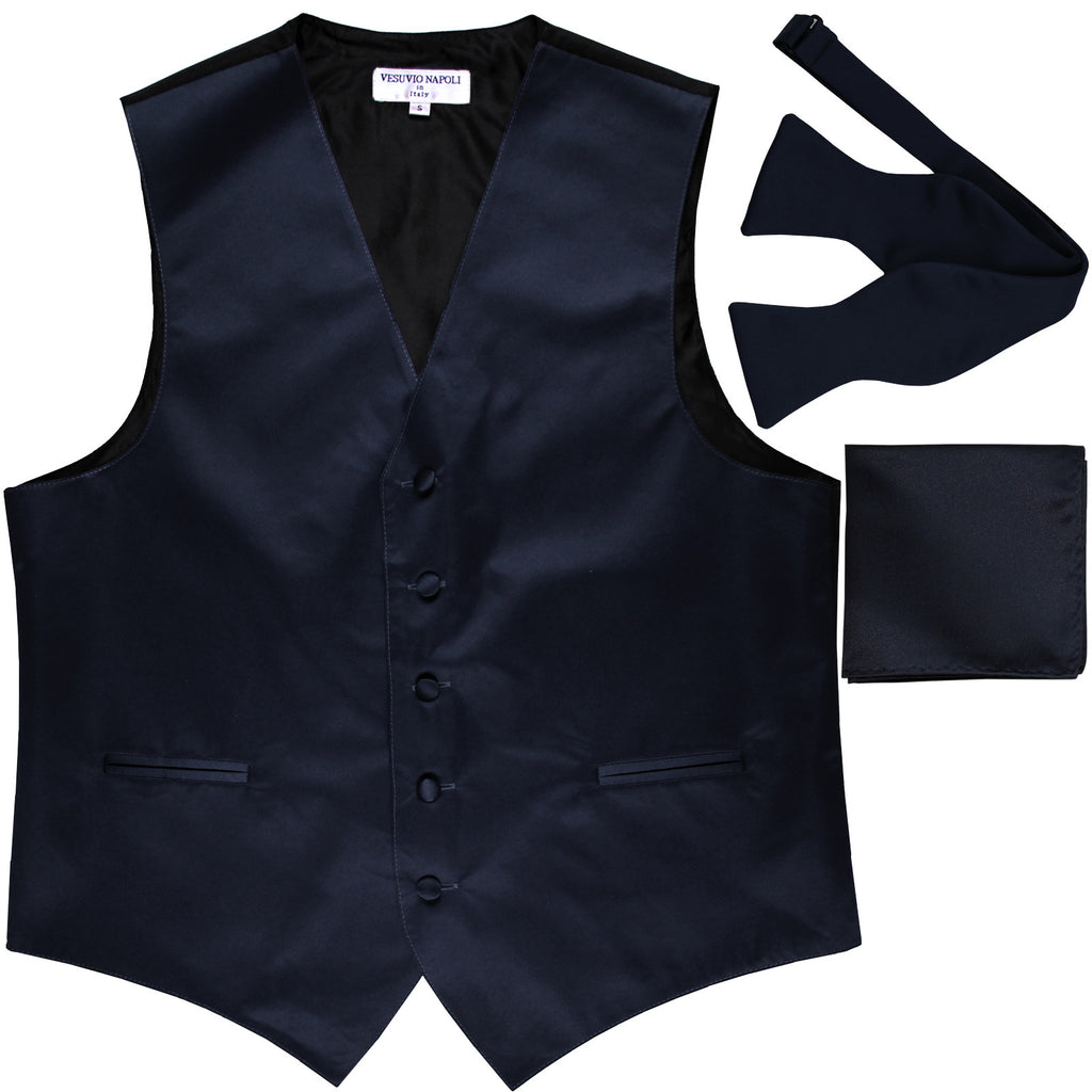 New Men's vest Tuxedo Waistcoat self tie bow tie and hankie set navy
