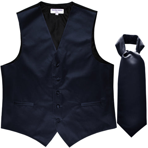 New Men's Formal Tuxedo Vest Waistcoat solid & Ascot cravat Prom navy