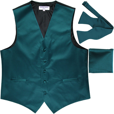 New Men's vest Tuxedo Waistcoat self tie bow tie and hankie set sapphire blue
