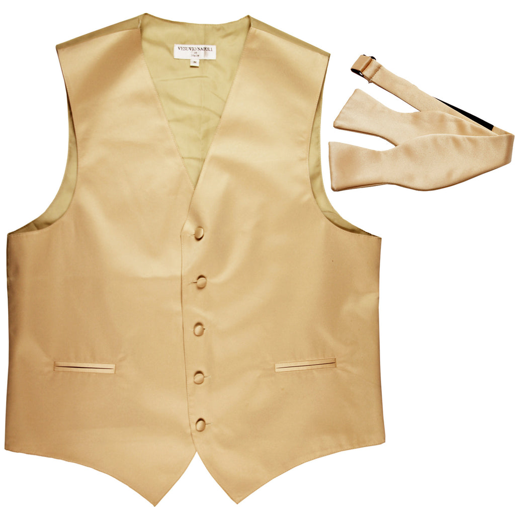 New Men's Formal Vest Tuxedo Waistcoat with free style selftie Bowtie beige