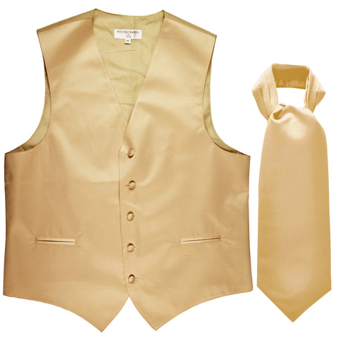 New Men's Formal Tuxedo Vest Waistcoat solid & Ascot cravat Prom beige