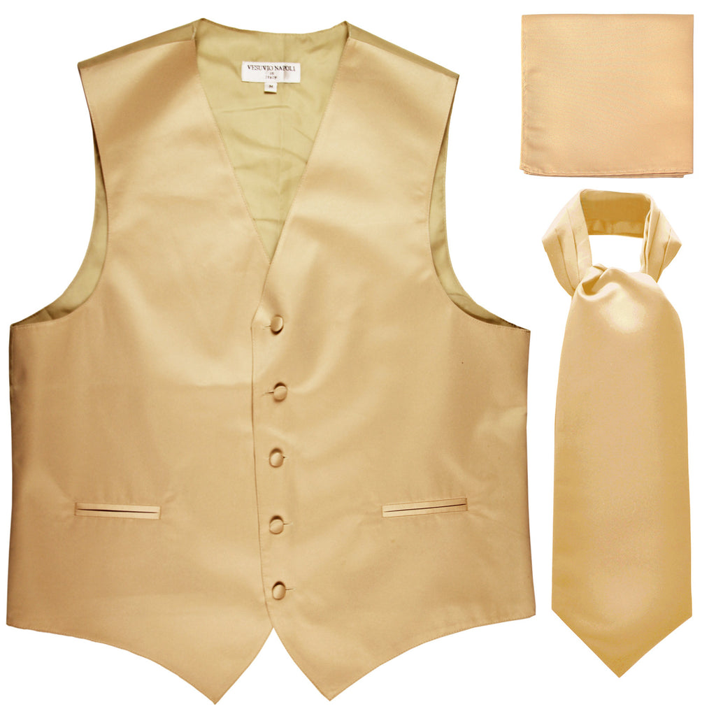 New Men's formal vest Tuxedo Waistcoat ascot hankie set wedding prom beige