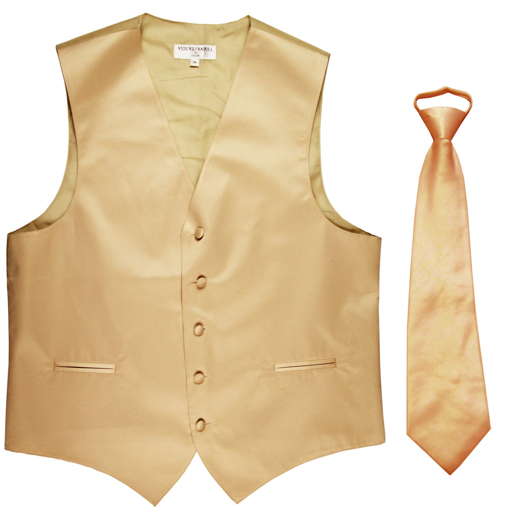 New Men's Formal Tuxedo Vest Waistcoat Pre-tied Necktie solid wedding prom beige