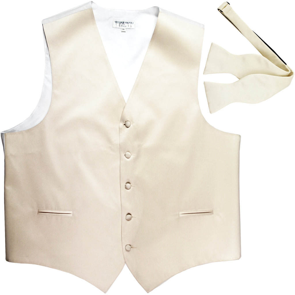 New Men's Formal Vest Tuxedo Waistcoat with free style selftie Bowtie ivory