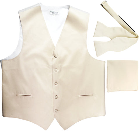 New Men's vest Tuxedo Waistcoat self tie bow tie and hankie set ivory