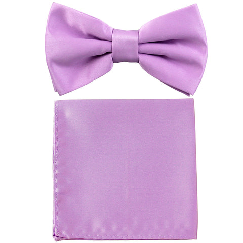 New formal men/'s pre tied Bow tie /& Pocket Square Hankie stripes lavender prom