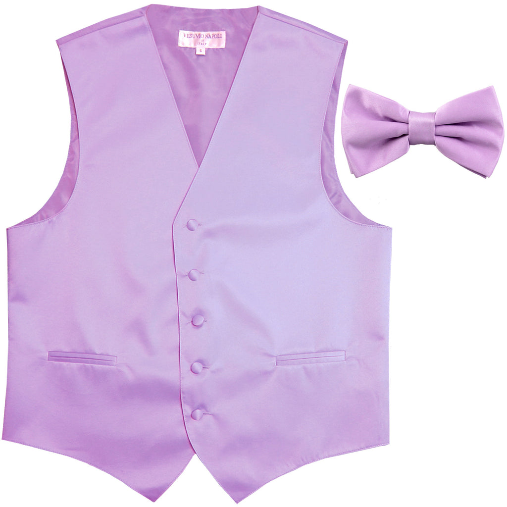 New Men's Formal Vest Tuxedo Waistcoat with Bowtie wedding prom party lavender