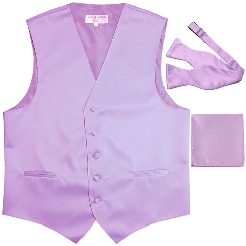 New Men's vest Tuxedo Waistcoat self tie bow tie and hankie set lavender