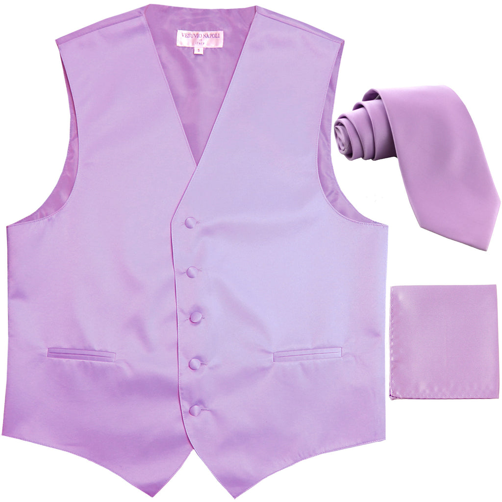 "New Men's formal vest Tuxedo Waistcoat_2.5"" necktie & hankie wedding lavender"