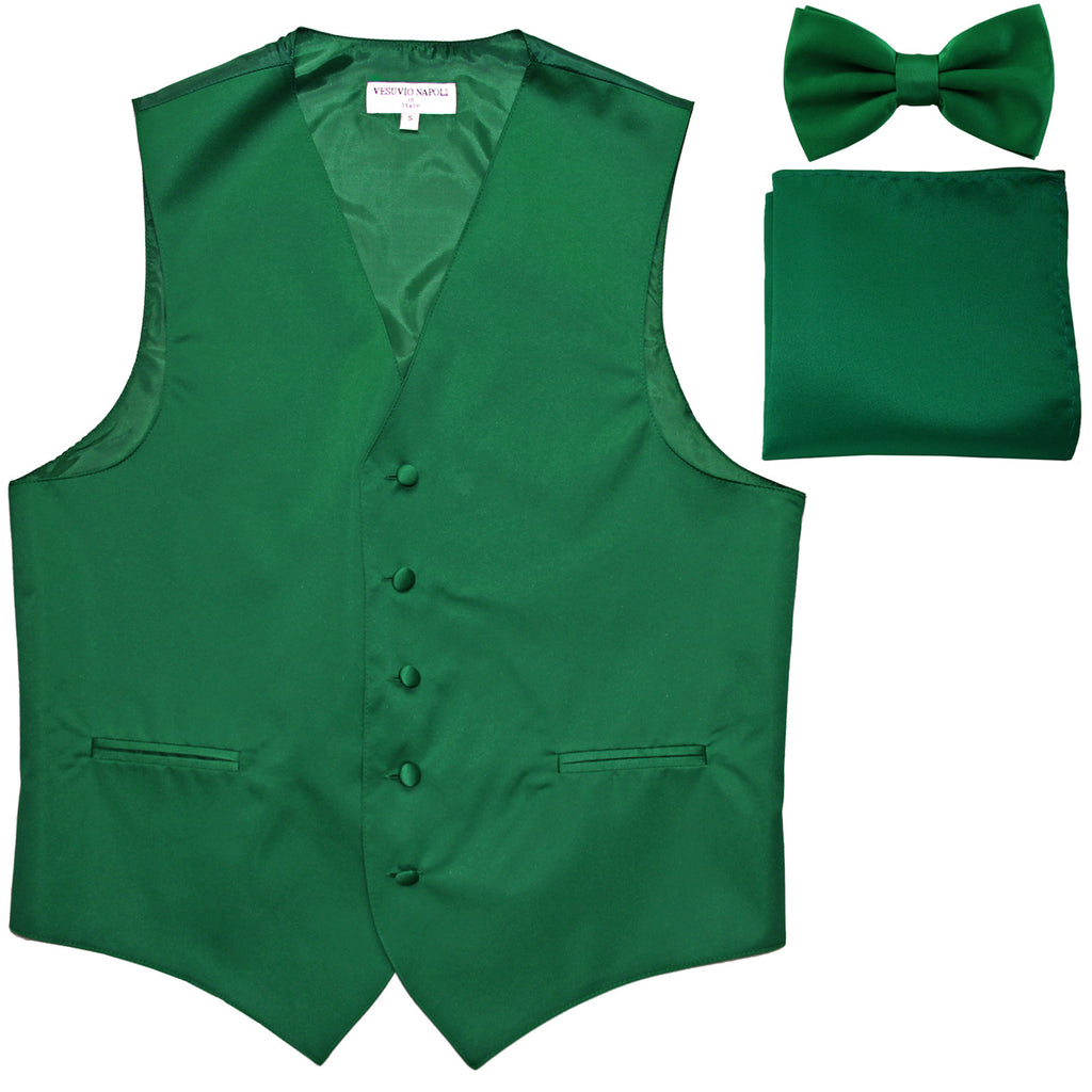 New Men's formal vest Tuxedo Waistcoat_bowtie & hankie set wedding prom emerald green