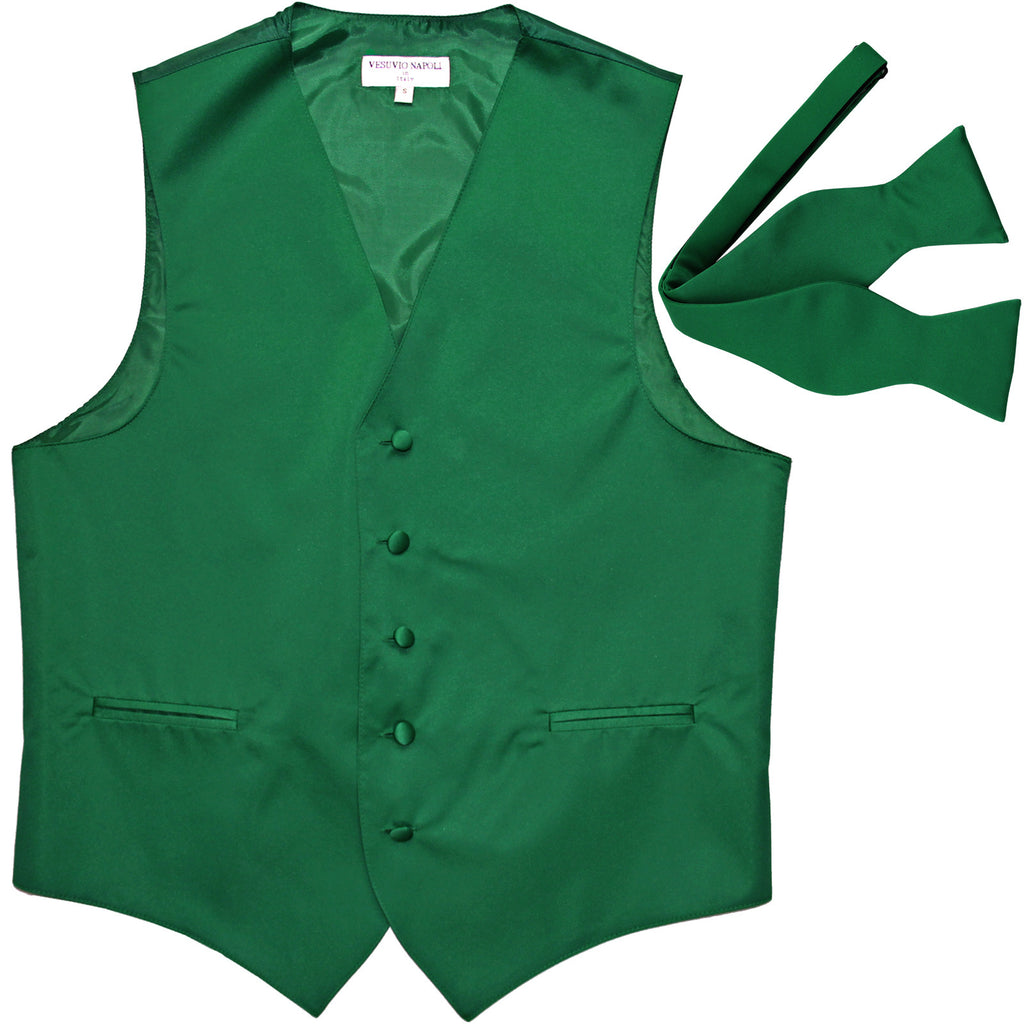 New Men's Formal Vest Tuxedo Waistcoat with free style selftie Bowtie emerald green