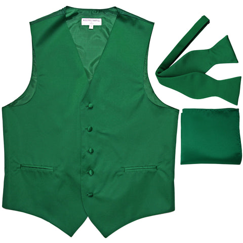 New Men's vest Tuxedo Waistcoat self tie bow tie and hankie set emerald green