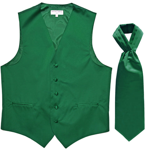 New Men's Formal Tuxedo Vest Waistcoat solid & Ascot cravat Prom emerald green