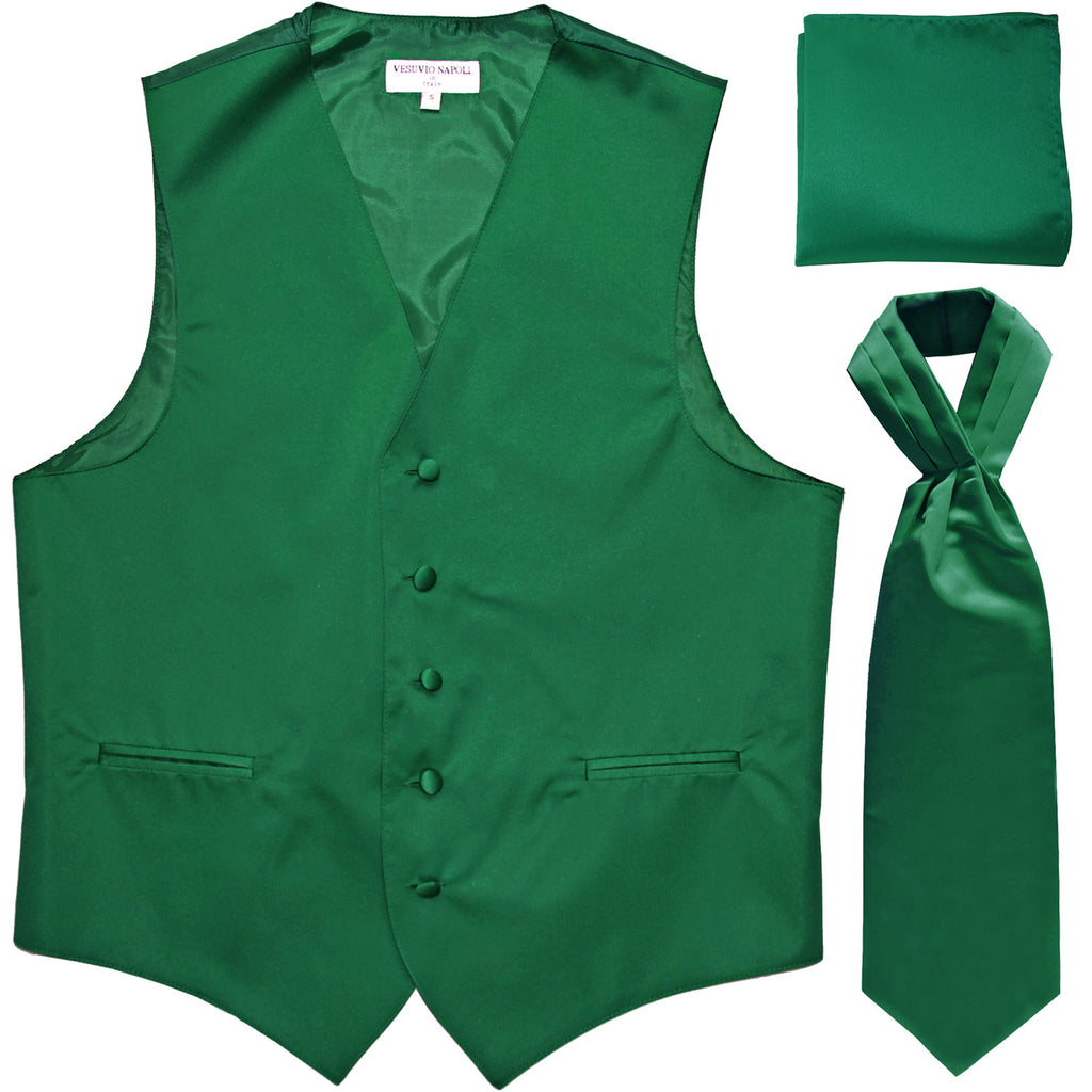 New Men's formal vest Tuxedo Waistcoat ascot hankie set wedding prom emerald green