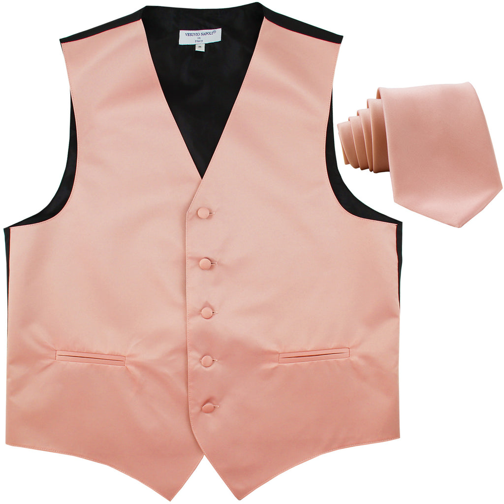 New Men's Formal Tuxedo Vest Waistcoat_Necktie solid wedding prom misty pink