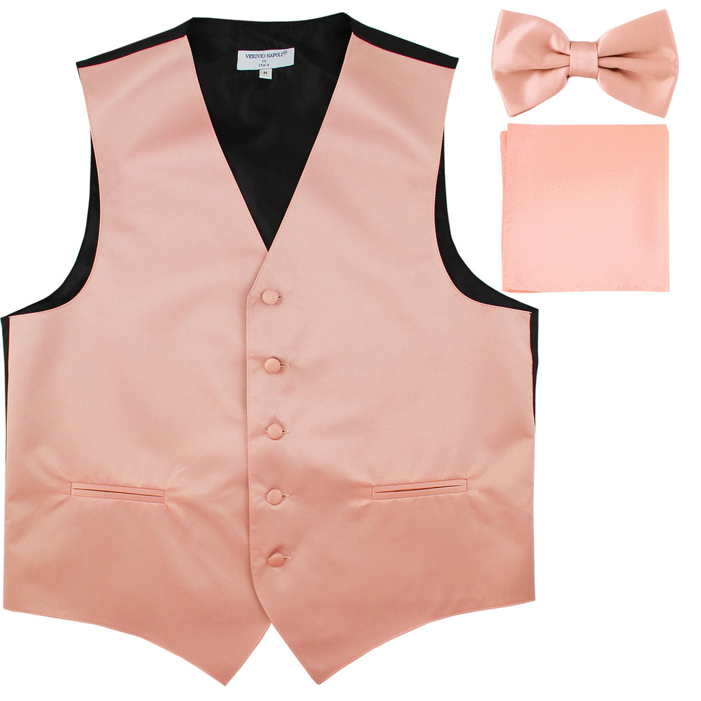 New Men's formal vest Tuxedo Waistcoat_bowtie & hankie set wedding prom misty pink