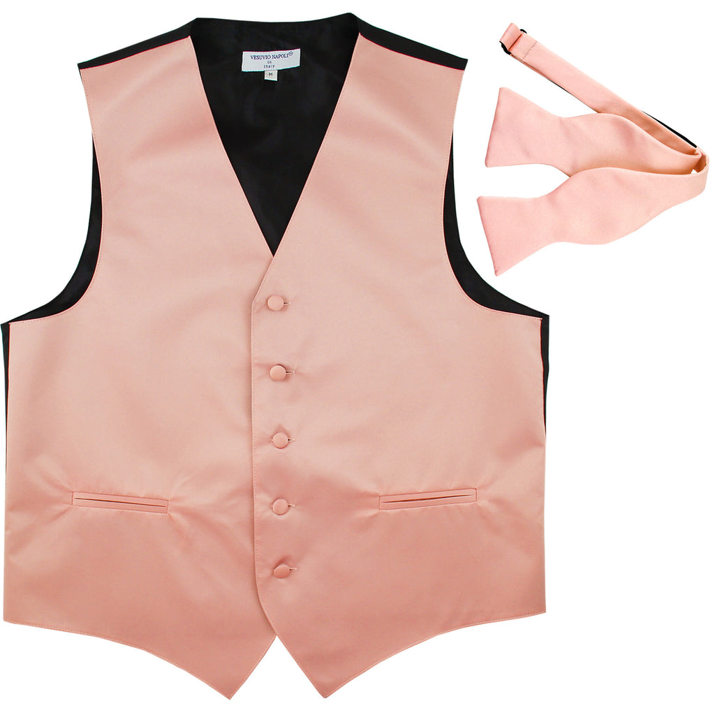 New Men's Formal Vest Tuxedo Waistcoat with free style selftie Bowtie misty pink