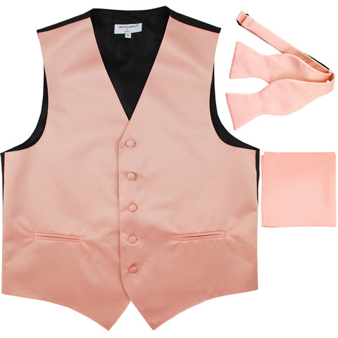 New Men's vest Tuxedo Waistcoat self tie bow tie and hankie set misty pink