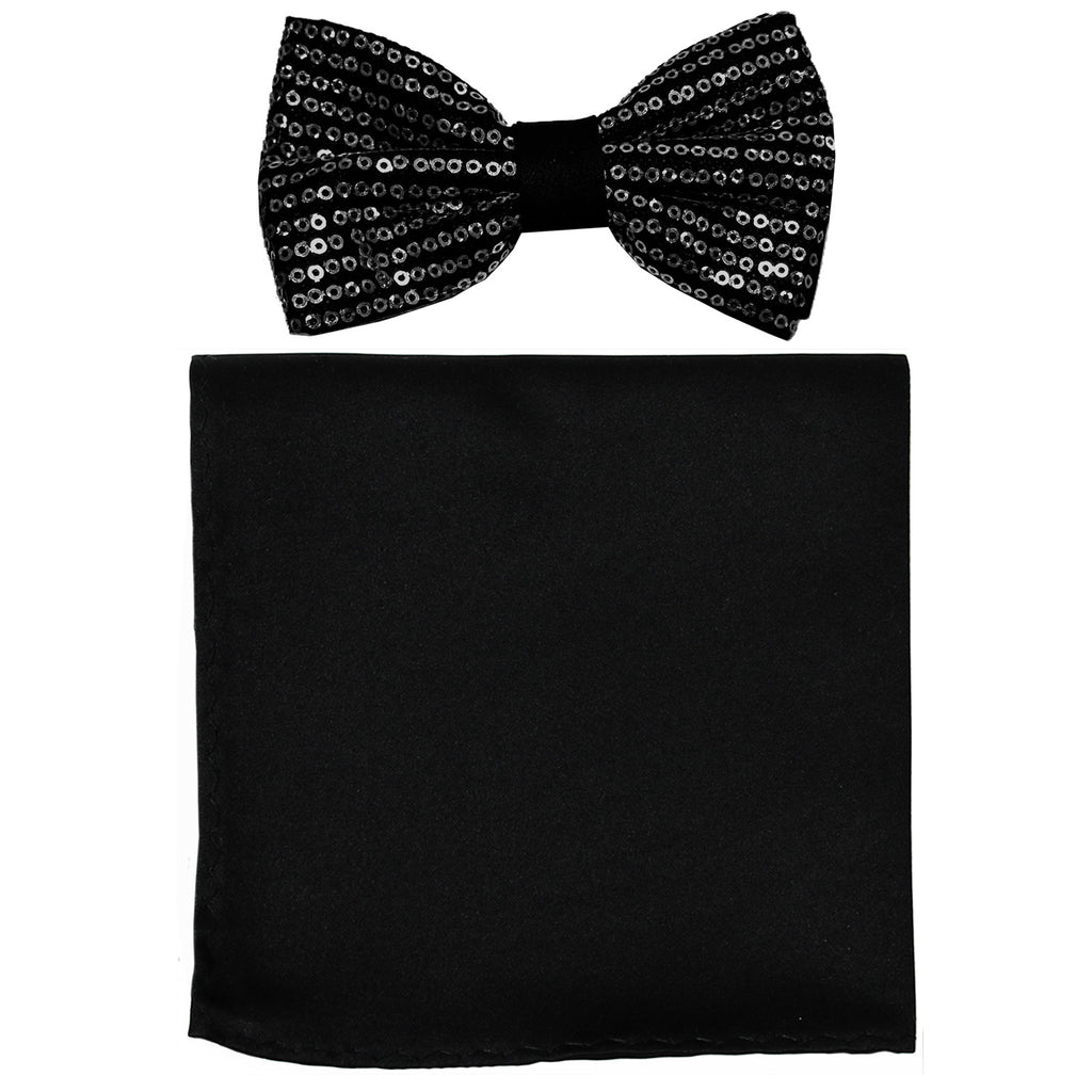 New Men's Pre tied bowtie with Blank Hankie Polyester Sequin Bowtie wedding party Prom